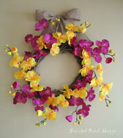 Spring Orchid Wreath/Fuchsia/Yellow Orchid/Spring Wreath