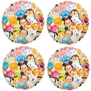 "4 x Disney Tsum Tsum 17"" Round Shaped Foil Balloon"
