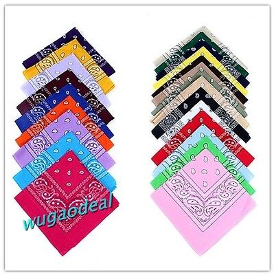 2 Pcs 100% Cotton Black Paisley Bandanas Double Sided Head Wrap Scarf Wristband on Rummage