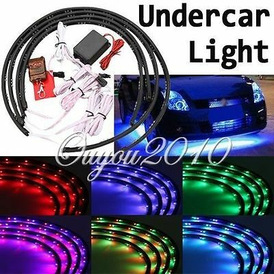 4pcs Car Under Glow Underbody 7 Color Flexible LED Strip Neon Lights Kit +Remote