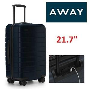 NEW AWAY CARRY ON SPINNER LUGGAGE 249045274 SUITCASE REMOVABLE BATTERY BLUE 21.7