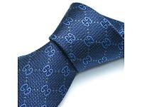 New Authentic Gucci Guccissima GG Deiene Tie Navy Blue RRP £140