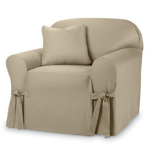 SURE FIT® Cotton Duck 1-pc. Chair Slipcover. New.