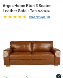 Eton 3 seater Leather Tan Sofa only £450. Real Bargains Clearance Out.