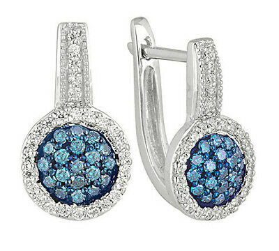 14k Gold J Hoop Clip - 1.08ct NATURAL ROUND DIAMOND BLUE SAPPHIRE 14K WHITE GOLD HOOPS CLIP ON EARRING