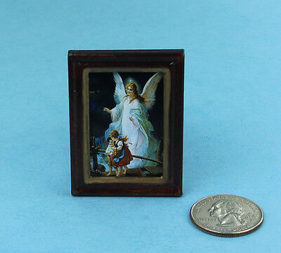 Guardian Angel Picture Frame - 1:12 Dollhouse Miniature Framed Guardian Angel Picture #HC609B