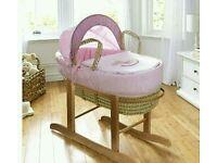 Kinder valley little rocker moses basket in pink. Brand new in sealed packs.