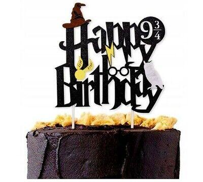 Harry Potter Cake Topper Kuchenaufsatz schwarz Gold Happy Birthday DIY