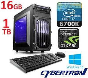 NEW* CYBERTRONPC PALLADIUM 950Z TGMPAL950Z000BW 131501688 GAMING DESKTOP i7-6700K 16GB DDR4 GTX 950 1TB HDD WIN10 COM...