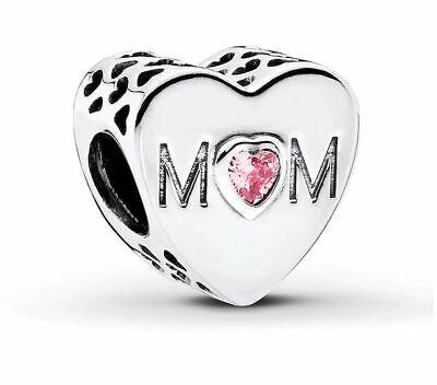 Sale!!Pandora Pink Mom Heart Charm+Pandora Gift pouch Mom Pink Heart