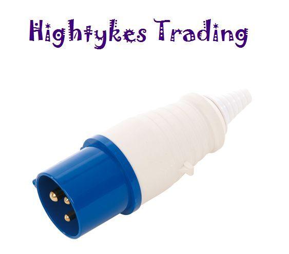 16 amp 3 Pin Plug 220 - 240 volts weatherproof to IP44 16A generator camper