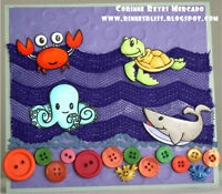 Cute rubber stamps - ocean, animals, sentiments