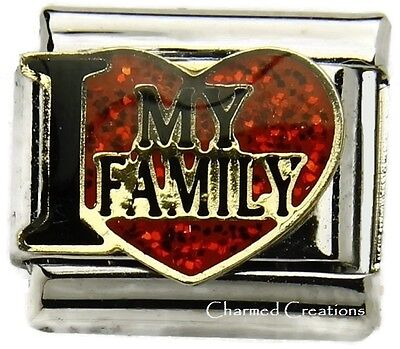 9mm Italian Charm I Love My Family Glitter Heart Stainless Steel Modular Link - Family Link Charms