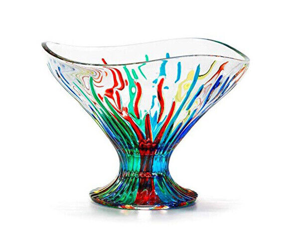 Murano Glass Fire Compote Bowl, Made in Italy