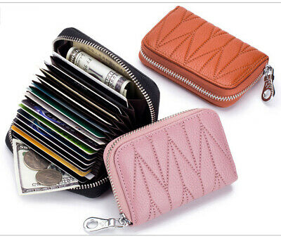 Genuine Leather Accordion Style Credit Card Holder Women's Wallet RFID Blocking Accordion Credit Card