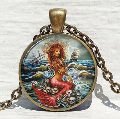 Vintage mermaid Cabochon Tibetan Bronze Glass Chain Pendant Necklace#xz48