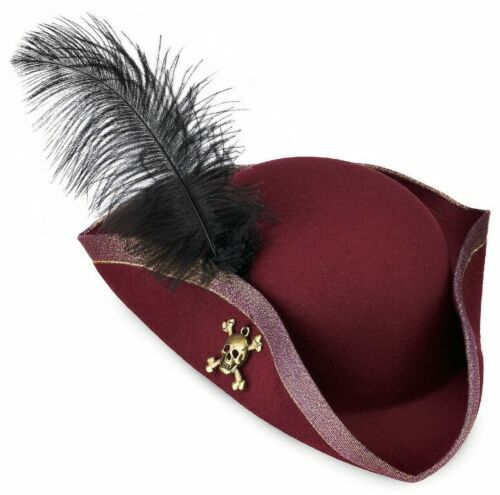 REDD~PIRATE~TRICORN~HAT~FEATHER~of the Caribbean~DRESS SHOP~NWT~Disney Store