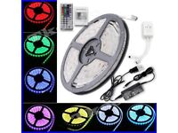 5M 5050 RGB LED Strip Non Waterproof SMD Lighting With Adapter IR Remote Full Kit