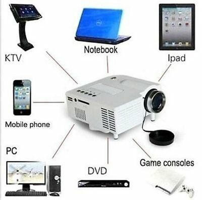 1080P Mini HD LED Projector Home Cinema Theater Multimedia PC USB TV AV HDMI DVD