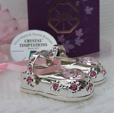 New Crystal Temptations Crystal Silver Plated Girls Pink Booties/Shoes