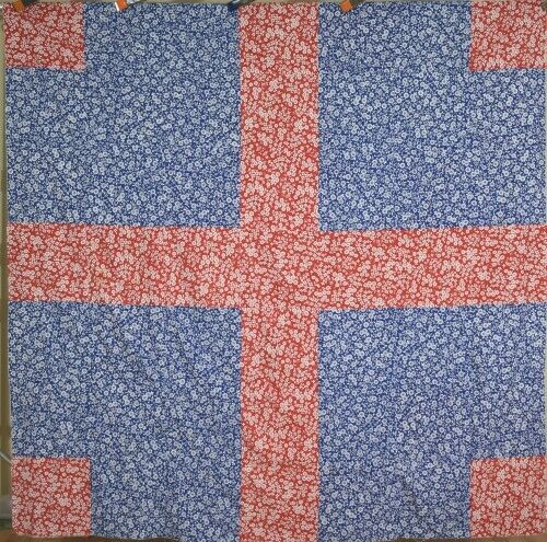 Elegant Vintage Red & Blue Amish/Mennonite Antique Quilt Top, Wayne Co. Indiana!