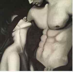 Peinture à l'huile érotique, sexy,amour, esclavage