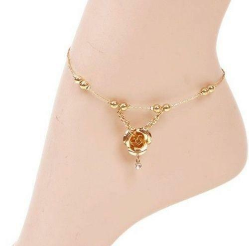 yellow figaro inches solid royal ankle s link anklet p bracelet real gold