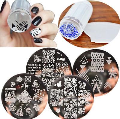 6pcs/set BORN Bonny Nail Art Template Stamping Plates & Clear Stamper Kit DIY