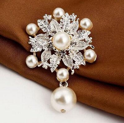 1Vintage Style Rhinestone Crystal Wedding Bridal Bouquet Flower big Pearl - Vintage Style Bridal Brooch