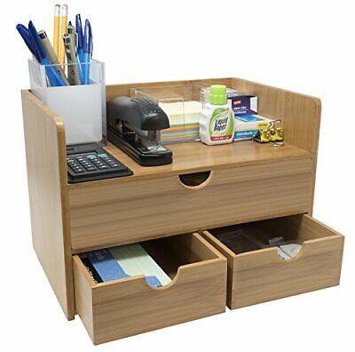 Sorbus Bamboo Desktop Organizer With Drawers 3-tier Wood Desk Shelf Organizer W