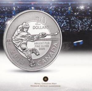 2013 $20 Fine Silver Commemorative Coin - HOCKEY