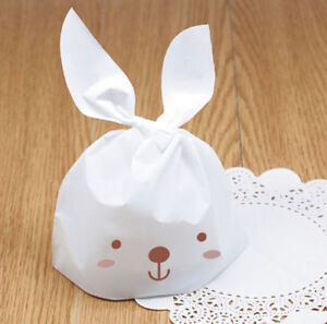 Easter White Rabbit Cute Party Bags Sweet Candy Kids Gift Cookie Bags x 10