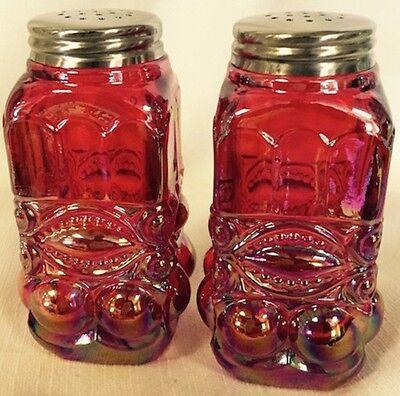 Salt & Pepper Shaker Set - Eyewinker - Red Carnival Glass - Mosser USA