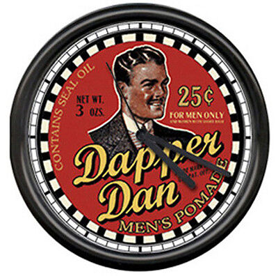 Dapper Dan Barber Shop Hair Pomade Sign Wall Clock