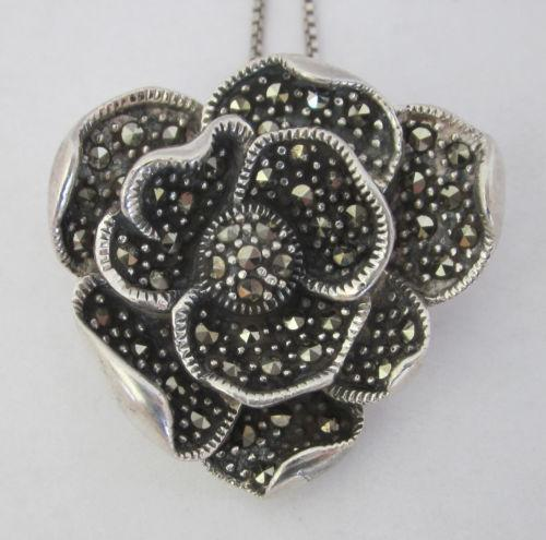 pendant onyx chain sterling silver black on marcasite deco art