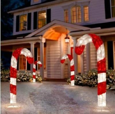 4 Foot Lighted 3D Tinsel Candy Cane Outdoor Christmas Holiday Yard Art Set of 1