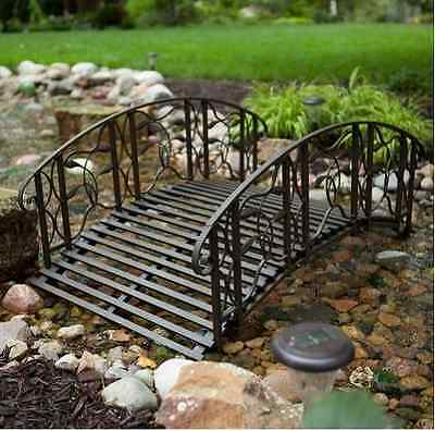 4 Ft Rustic Metal Garden Bridge Outdoor Structure Backyard Walkway Pond Decor