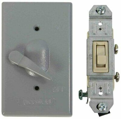 Made In Usa Electrical Outlet Box Cover Single Pole Switch Kit - Gray