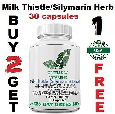 New Milk Thistle Silymarin Herb 1000Mg Helps Repair Liver Health Made Usa
