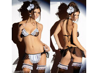 LADIEs WOMENs NAUGHTY MAID COSTUME LINGERIE LACE NIGHTWEAR DRESS & G-STRING BAND