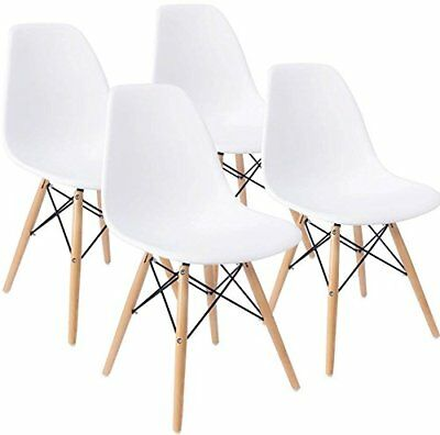 Modern Chair - Set of 4 Mid Century Modern DSW Dining Side Chair Wood Legs in White