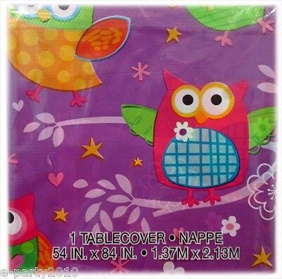 PARTY OWL PLASTIC TABLE COVER ~ Birthday Party Supplies Cloth Decorations - Owl Birthday Supplies