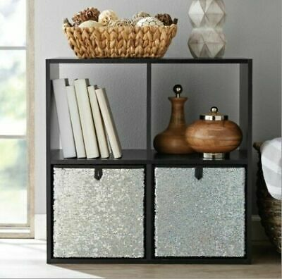 Reversible Sequin Collapsible Storage Cube Bin Basket Box Silver H28 xW27 xD27cm