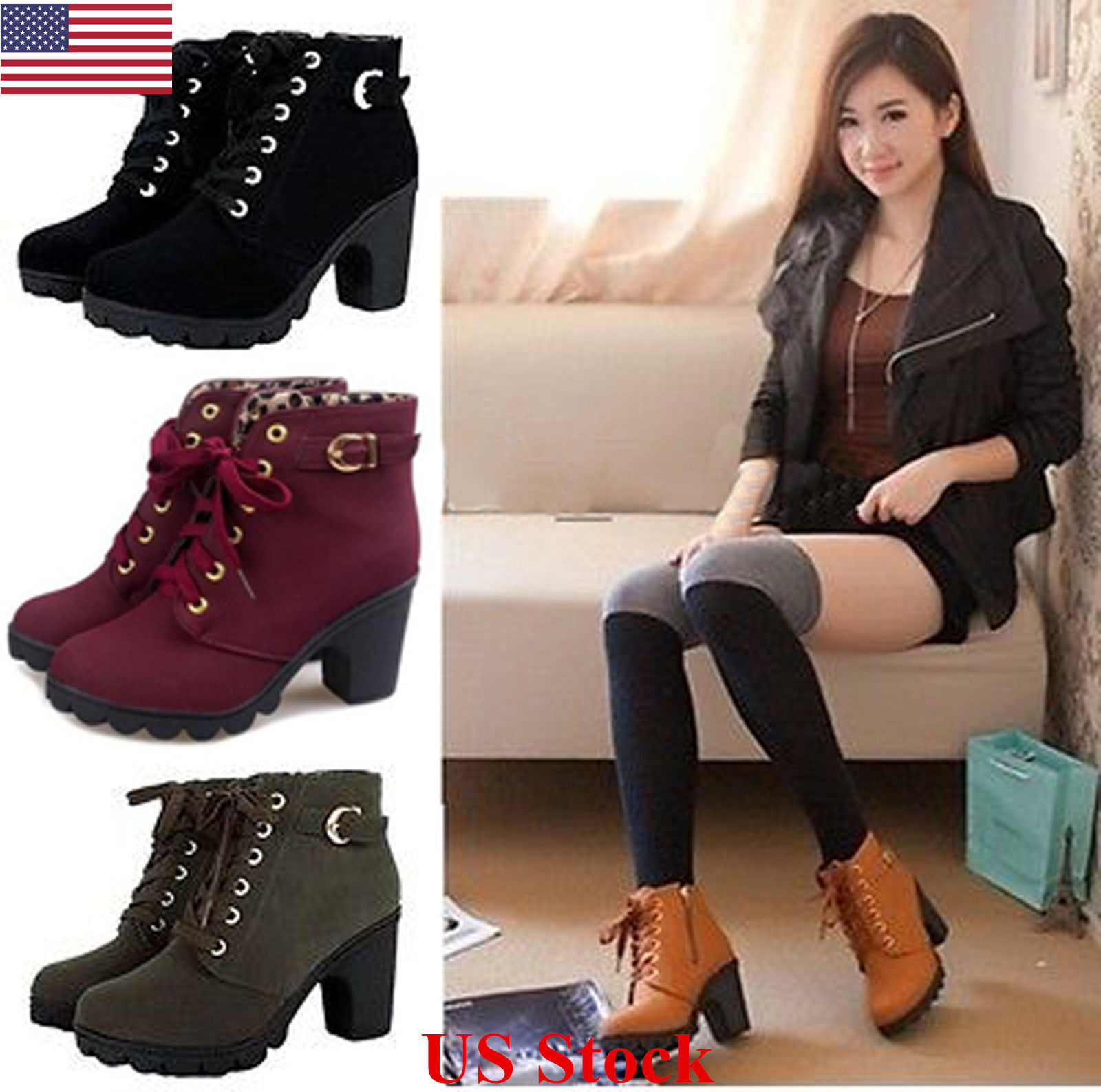 Boots - US New Womens Ladies Platform PU High Heel Ankle Boots Lace Up Punk Buckle Shoes