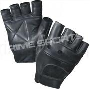 Black Leather Fingerless Gloves