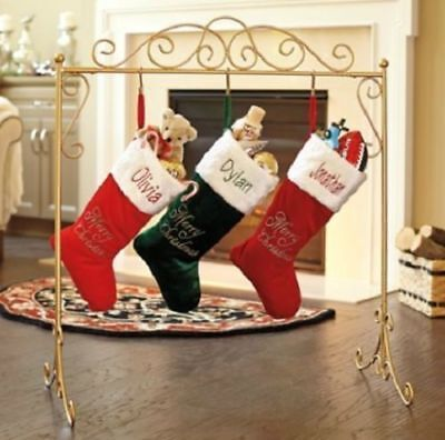 Metal Scroll Stand Christmas Stocking Holder Hanger in Black or Gold Color ()