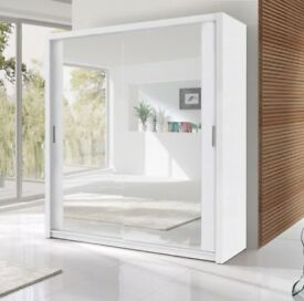 --BIG PROMO-- BRAND NEW MODERN FULLY MIRRORED BLACK/WHITE OR BROWN BERLIN WARDROBE SLIDING DOORS