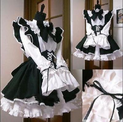 Karneval Lolita Cosplay Frauen Dienstmädchen Kleid Gotisch Rüsche Mädchen Kostüm