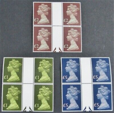 nystamps Great Britain Stamp MOGNH High Value, Blocks W.Gutters Pd$100  L16x3298