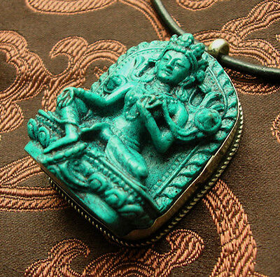 Beautiful Buddha Amulet Green Tara Turquoise Nepal